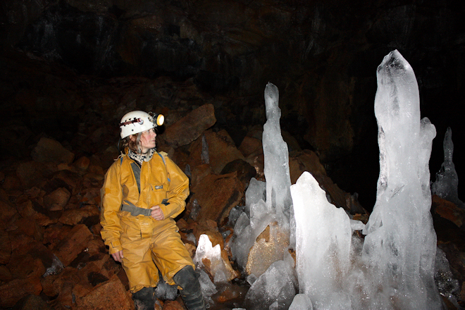 Ice formations in Buri lava cave