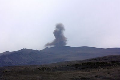 A small ash eruption from Eyjafjöll, photographed on the afternoon of 17 June 2010