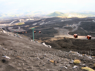 Looking down the cable car run near Picolo Rifugio on Mount Etna - Sept. 2007