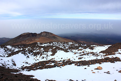 Snow on the colourful Pico Viejo, Mount Teide, Tenerife