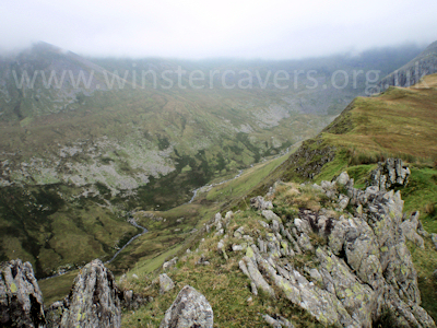 Looking towards Carnedd Llewelyn - the tops of which are in cloud!