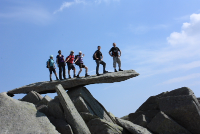 "A group on the famous ""Cantilever Stone"", Glyder Fach - Easter 2011"