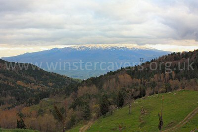 Mount Etna coyly hides behind the clouds - the view from Agriturismo Il Noceto, Nebrodi, Sicily