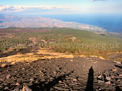 Looking down to the Sicilian Coast from Mount Etna - June 2008
