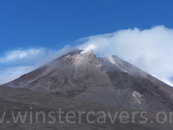 The steaming South East crater at Etna's summit