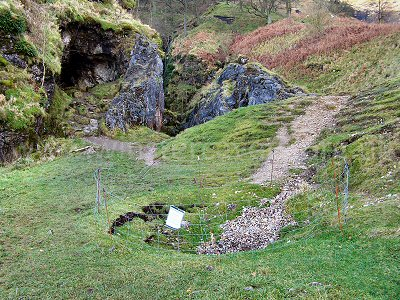 Odin Cave and the new collapse that has been fenced off by the National Trust
