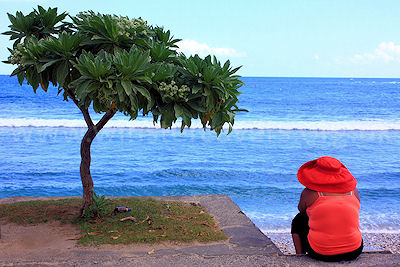 Contemplating the sea views at St. Pierre, Ile de la Reunion, September 2009