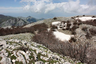 The last snow on the tops around Pizzo Carbonara, the highest peak in the Madonie Mountains, Sicily.