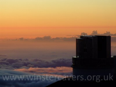 The Subaru Telescope at sunset on the summit of Mauna Kea, Big Island, Hawaii