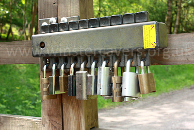 The ingenious lock on the forestry track gate allows access for any one keyholder.