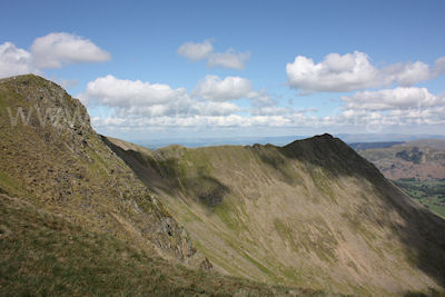 Looking back at Striding Edge from Dollywaggon Pike