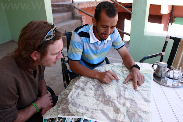 Planning our route through the High Atlas mountains, Morocco